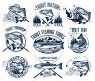 Emblèmes de pêche de truite de vintage Images stock