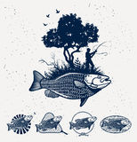 Emblèmes de pêche maritime Images stock