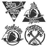 Emblèmes de pompier de vintage illustration de vecteur