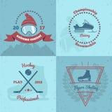 Emblèmes 2x2 de sports d'hiver Photos libres de droits