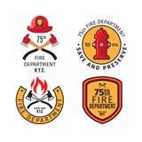 Emblèmes et insignes de sapeur-pompier illustration de vecteur
