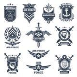 Emblèmes et insignes pour l'air et des forces de terre illustration stock