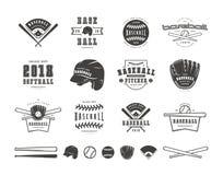 Emblèmes et insignes réglés de l'équipe de baseball illustration libre de droits