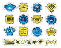 Emblèmes et insignes réglés de l'équipe de baseball Image stock