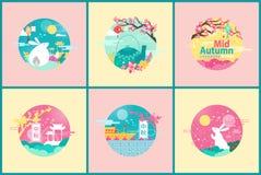 Emblèmes fleuris pour mi Autumn Festival Event heureux illustration libre de droits