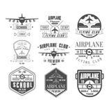 Emblèmes monochromes de club d'avion Photo libre de droits