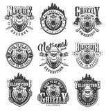 Emblèmes monochromes de parc national de cru illustration stock