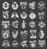 Emblèmes monochromes de raseur-coiffeur de cru illustration de vecteur