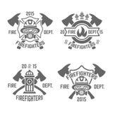 Emblèmes monochromes de vecteur de corps de sapeurs-pompiers illustration libre de droits