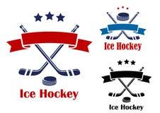 Emblèmes ou bannières de hockey sur glace Photographie stock libre de droits