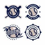 Emblèmes professionnels modernes réglés pour le tournoi de jeu de baseball Images libres de droits