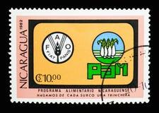 Emblèmes, serie de jour de nourriture du monde, vers 1982 Photos libres de droits