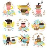Emblèmes tirés par la main de temps de café illustration de vecteur