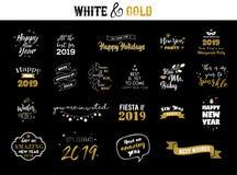 Emblèmes typographiques de la bonne année 2019 réglés Logo de vecteur, conception des textes Noir, blanc et or Utilisable pour de illustration de vecteur