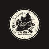 Embl?me de camp de cano? pour le T-shirt illustration de vecteur