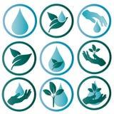 Embleem die het water en de aard symboliseren Stock Afbeeldingen