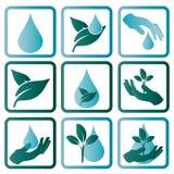 Embleem die het water en de aard symboliseren Royalty-vrije Stock Afbeelding