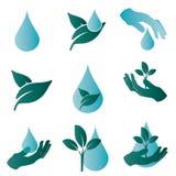 Embleem die het water en de aard symboliseren Royalty-vrije Stock Afbeeldingen