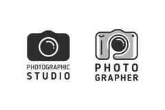 Embleem en camerapictogram Stock Afbeeldingen