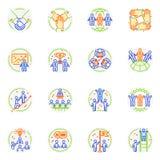 Embleem en de samenwerking van het groepswerkpictogram werken het vector teambuilding teken van de reeks van de bedrijfsvennootsc royalty-vrije illustratie