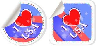 Embleem I van het hart de reeks van het de stickersetiket van de liefdeV.S. Stock Foto's