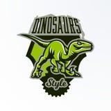Embleem, kenteken, sticker, dinosaurusembleem op de jacht Roofdier Jura, een gevaarlijk dier, een uitgestorven dier, een mascotte stock illustratie