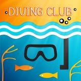Embleem mariene het duiken club Vector illustratie Royalty-vrije Stock Fotografie