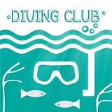 Embleem mariene het duiken club Vector illustratie Stock Foto's