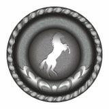 Embleem, medaille, symbool, kenteken met het paard Stock Foto