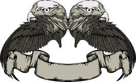 Embleem met adelaar en vleugels en uitstekende banner. Stock Foto's