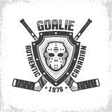 Embleem met Canadees hockey retro masker op driehoekig schild royalty-vrije illustratie