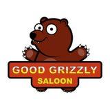 Embleem met een beeldverhaalbeeld van een beer Royalty-vrije Stock Foto