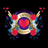 Embleem met een kanon en rozen rode harten Stock Afbeeldingen