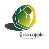 Embleem met groene appel stock illustratie