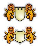 Embleem met leeuwen Stock Afbeelding