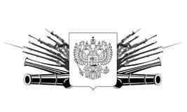 Embleem met schild met Russische dubbel-geleide keizeradelaar Stock Foto's