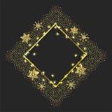 Embleem met sterren en vlokken om nieuw jaar te vieren stock illustratie