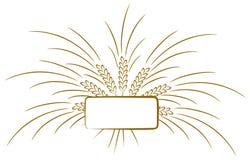 Embleem met tarwekegels stock illustratie