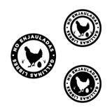 Embleem om voedsel van niet-gekooide kippen te bepalen, stock foto
