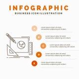 embleem, ontwerp, creatief, idee, het Malplaatje van Infographics van het ontwerpproces voor Website en Presentatie Lijn Grijs pi royalty-vrije illustratie