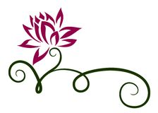 Embleem purpere bloem royalty-vrije illustratie