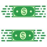 Embleem snelle overdracht van geld, een dollarrekening in snelle motie vectorconcept snelle overdracht van fondsen royalty-vrije illustratie