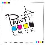 Embleem - teken CMYK, conceptontwerp stock fotografie