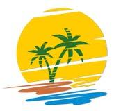 Embleem tropisch eiland stock illustratie