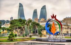Embleem van 'Baku 2015' Europese Spelen in Baku Stock Foto's