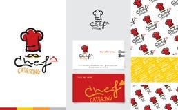 Embleem van chef-kokcatering met naamkaart en patroon stock illustratie