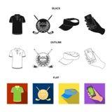 Embleem van de golfclub, GLB met een vizier, golfspeleroverhemd, telefoon met een navigator Pictogrammen van de golfclub de vastg stock illustratie