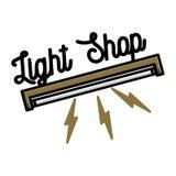 Embleem van de kleuren het uitstekende lichte winkel Stock Afbeeldingen