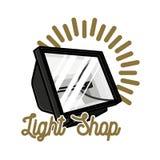 Embleem van de kleuren het uitstekende lichte winkel Stock Afbeelding