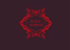 Embleem van de magische spiegel met een uil Royalty-vrije Stock Fotografie